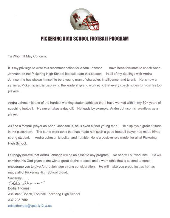 High School Recommendation Letter From Coach Image Gallery - Hcpr